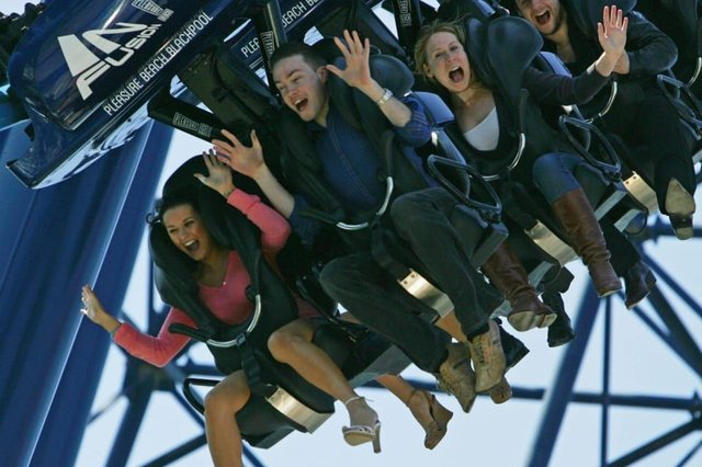 Thrill seekers on the Infusion rollercoaster ride at Blackpool Pleasure Beach (Photo: Christopher Furlong/Getty Images)