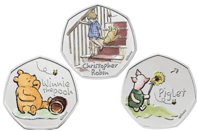A new 50p coin depicting beloved children's character Winnie the Pooh is now available in the UK, adding to the growing number of illustrated coins (Photo: Royal Mint)