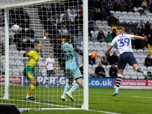 Billy Bodin heads home Preston's consolation goal against Norwich at Deepdale