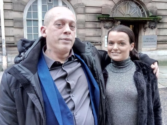 Sexual abuse survivor Wayne Pilsworth outside Sessions House Court with wife Teresa, moments after his abuser Paul Timmis was jailed for 14 years
