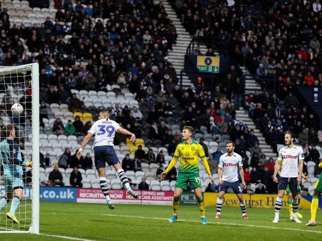 Billy Bodin heads PNE's first goal against Norwich at Deepdale