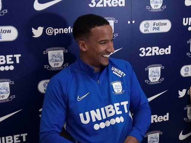 Preston's new signing Scott Sinclair at the Springfields training ground