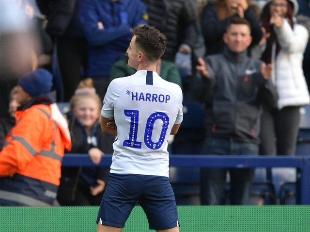 Josh Harrop celebrates Preston's equaliser against Charlton at Deepdale