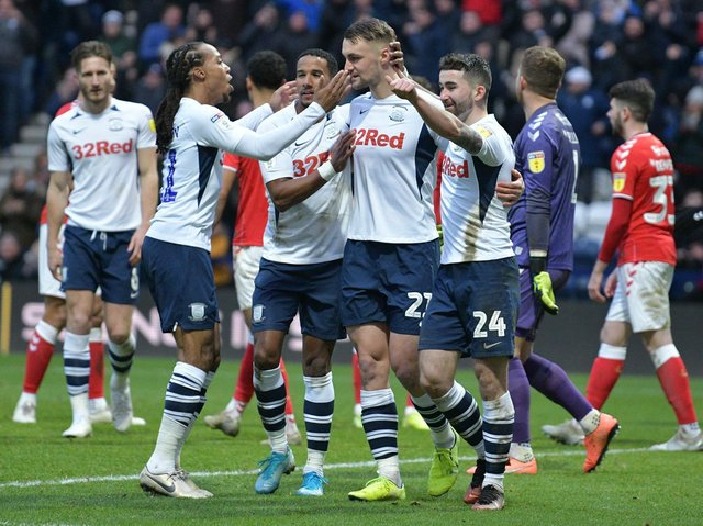 Patrick Bauer is congratulated after scoring Preston's winner against his former club Charlton at Deepdale