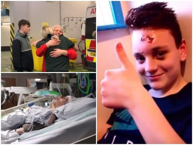 Top left, Daniels mum, Tara, meets the ambulance crew; bottom left, Daniel in hospital after the accident.
