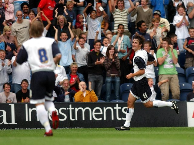 Danny Pugh celebrates after giving Preston the lead against Manchester United at Deepdale in July 2006