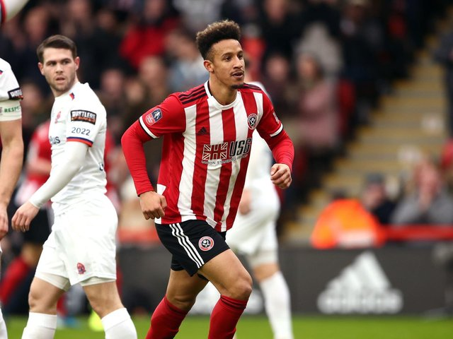 Callum Robinson after scoring for Sheffield United against AFC Fylde in the FA Cup