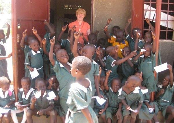 Carolyn Murray with children in South Sudan.