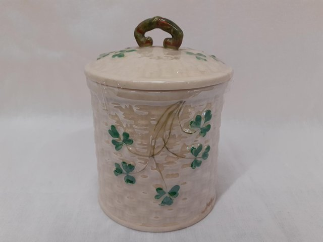 This trinket pot is a beautiful example of Belleek