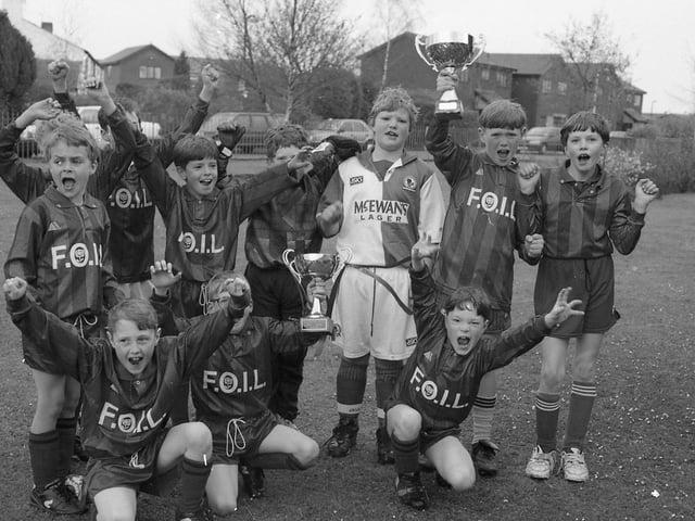 1st Hoghton cubs football team celebrate