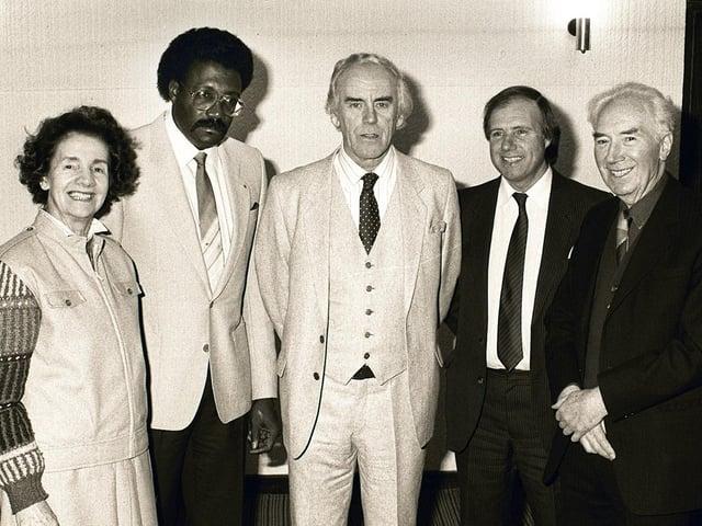 Clive Lloyd attends a reception for Preston Cricket Club in the Avenham Suite in 1987