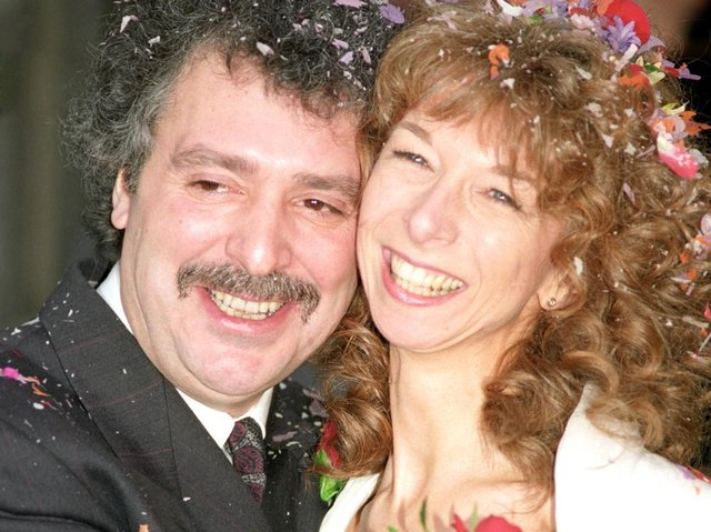 Michael Angelis on his wedding day to his then wife actress Helen Worth. The long-term narrator of Thomas the Tank Engine series Thomas & Friends, died at home on Saturday aged 76, his agent said.