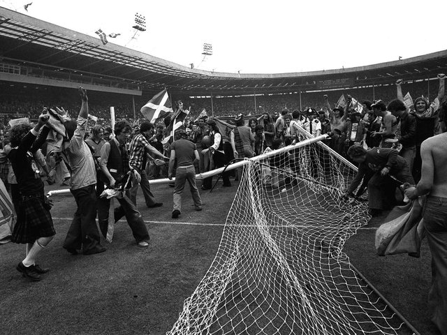 Scotland fans spilled on to the Wembley turf on June 4, 1977