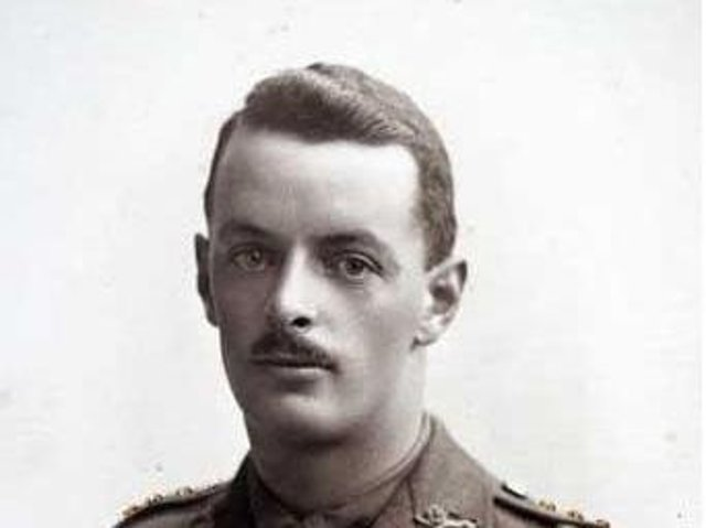 Captain Albert Ellwood.  A coloured photograph produced after his death, with the medal ribbons for the Military Cross, 1914/15 Star, British War and Allied Victory Medals, painted on. Accession Number: KO3053/01. Picture courtesy of the King's Own Royal Border Regiment Museum.