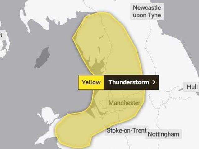 Met Office warning of thunderstorms