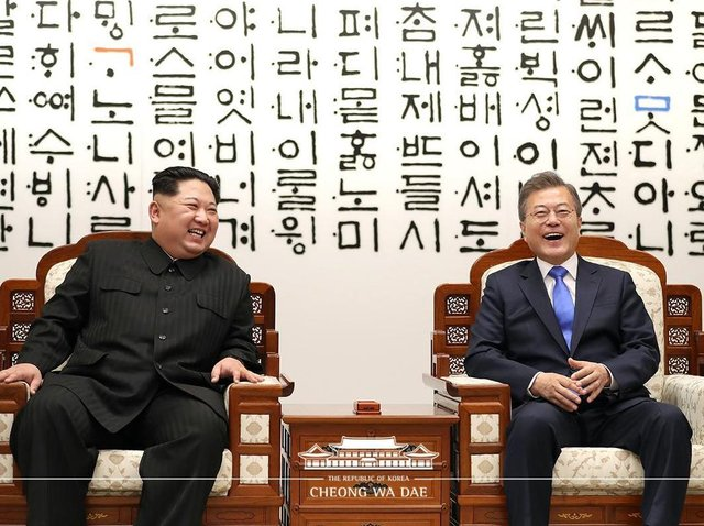 UCLan  has received a major research grant for its Korean studies. Pictured is   North Korean leader    Kim Jong-un with  South Korean President Moon Jae-in.