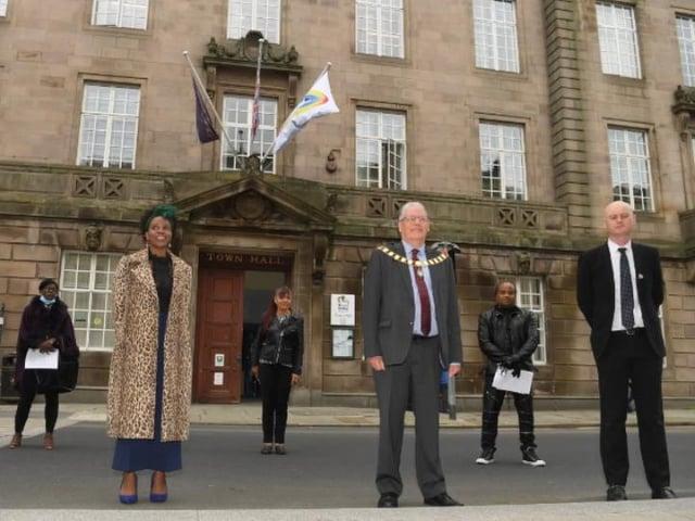 The Mayor, Coun David Borrow, with Glenda Andrew and council leader Coun Matthew Brown.