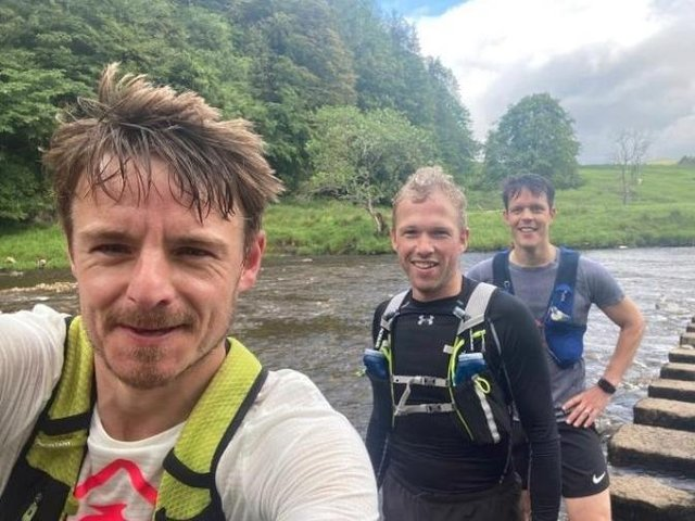 The trio (from left - Rob Simpson, Roger Grogan and James Fletcher) will run 50 miles by the River Ribble  on Saturday in a tough ultra trail challenge to raise money for the Lancashire Women charity