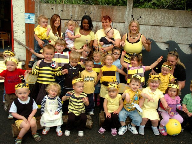 Bee fancy dress day to raise money for cystic fibrosis at Busy Bees Nursery, Lostock Hall