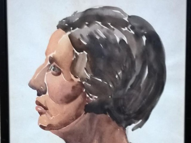 A portrait of Miss Holmes painted by student Lawrence Greenwood, probably in 1934, when the artist would then be aged 19. Reproduced by permission of Mrs Lillian Greenwood, the widow of Lawrence.