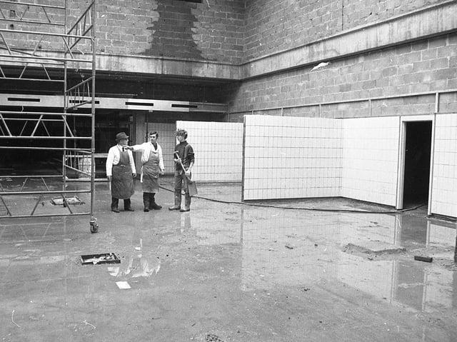 The indoor market hall in Preston is taking shape