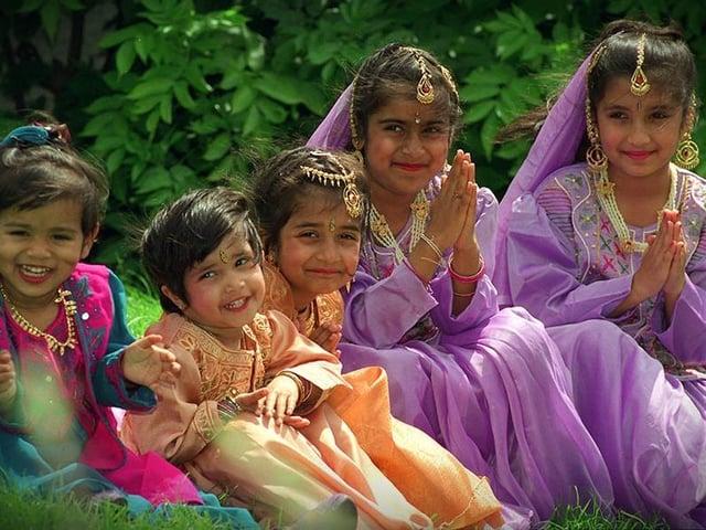 Priyanka Navekar, 2, Priscilla Dabhi, 2, Benita Dabhi, 6, Bhakti Navekar, 6, and Nisha Navekar, eight, from Preston who will be dancing at the Mela Festival