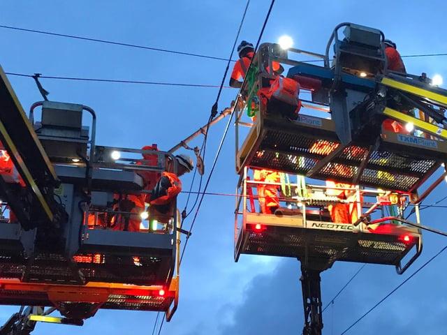 Engineering work on the overhead power lines on the West Coast Mainline near Preston