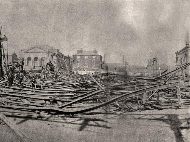 Scene of devastation after the covered market collapse