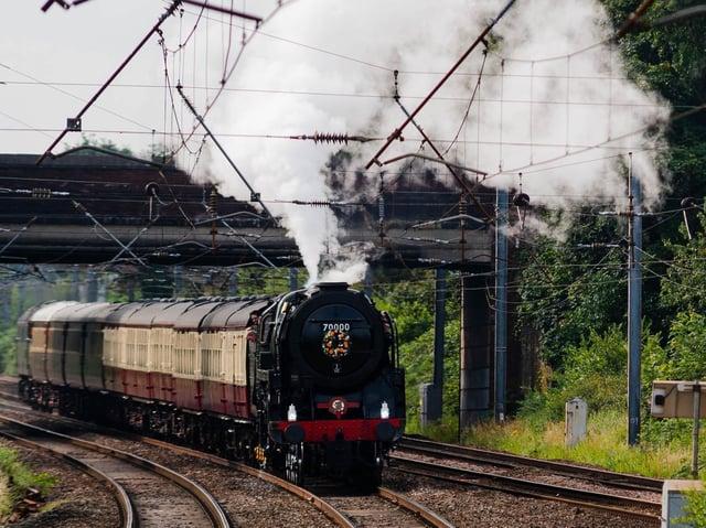 70000 Britannia at Leyland Railway Sation