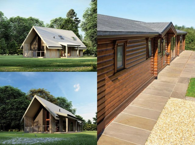 Holiday chalets could be set to spring up near the Forest of Bowland - the design of an approved scheme in Whitechapel (top and bottom left, images: Graham Anthony Associates) and the style for another development in the area for which planning permission is being sought (right, image: Norwegian Log Buildings Limited)