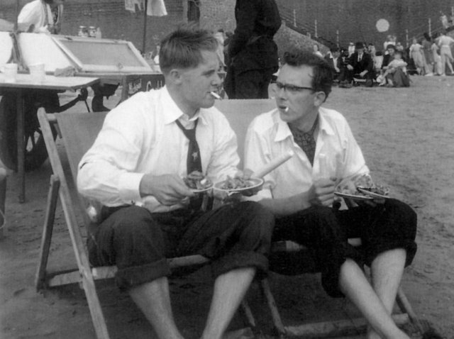 Morecambe and Wise on Blackpool beach in 1953