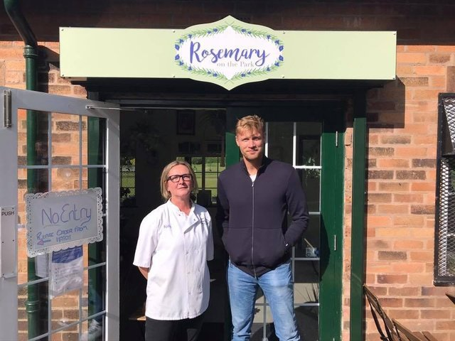 Kelly Davies, owner of Rosemary on the Park, alongside Andrew 'Freddie' Flintoff at her cafe in Moor Park yesterday (Sunday, September 20). Pic: Rosemary on the Park