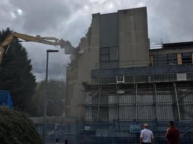 Chorley Hospital's maternity unit being demolished today (Friday, September 24)