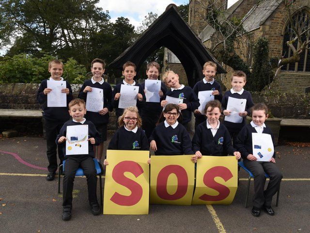Pupils from Calder Vale St John's CE school campaigning to save their local swimming pool  (Photo: Neil Cross)