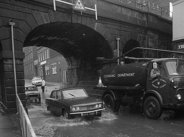 Flooding under the bridge on Fylde Road in Preston