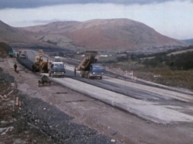 M6 Cumbria 50 years old. After two years of day and night ground works the carriageway starts to take shape. (all images from Laing's 30 minute documentary courtesy British Film Institute).