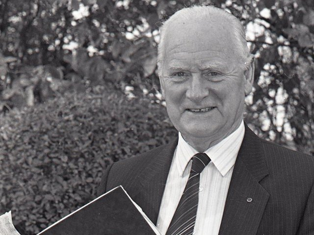 Tom Finney receives his big red book for appearing on This Is Your Life