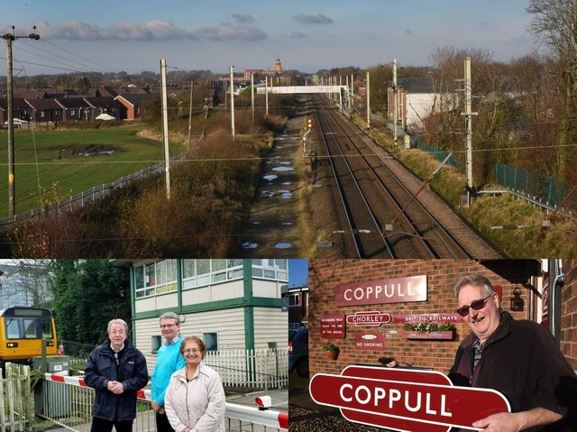 The West Coast Mainline near Coppull, which was last served by a station in 1969 (top);  Lancashire County Council member for highways Keith Iddon and South Ribble borough councillors Michael and Mary Green at Midge Hall station, which shut in 1961 (bottom left);  and Coppull resident and railway enthusiast Steve Hearne with an original station sign (bottom right)