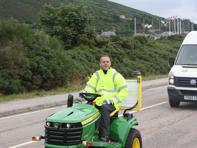 Andy on his record-breaking mow from Lands End to John O'Groats