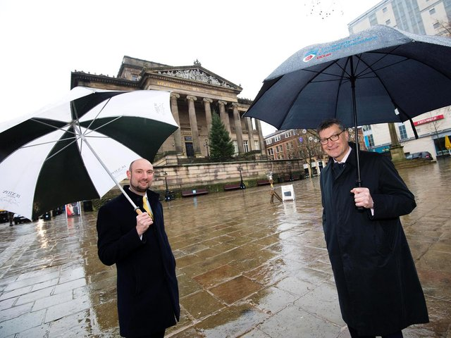 Tim Joel, Head of Culture at Preston City Council, and UCLan Vice-Chancellor Professor Graham Baldwin outside the iconic Harris Museum