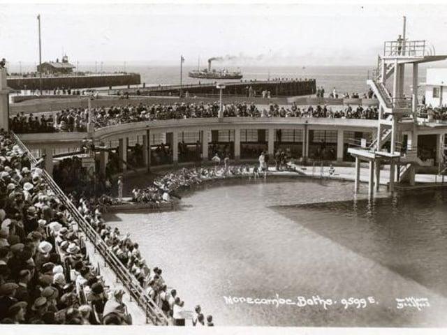 The opening of Morecambe's Super Swimming Stadium in 1935.