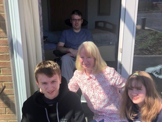 A first   visit for Petra, Oliver and Leah  when they were able to visit Lee  at the Sue Ryder centre for the first time. Lee stayed indoors and they were outside for the socially distanced visit.