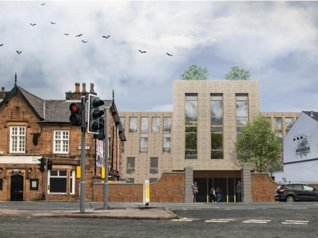 An image of how the new apartment block will look, between the Unicorn pub (left) and the Moorbrook pub next door (Image: David Cox Architects).
