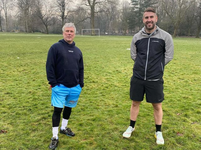 Andrew with music star Bez before filming their outdoor fitness class