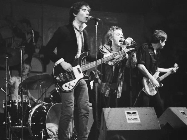 The Sex Pistols on stage in Amsterdam three weeks after Preston banned them.