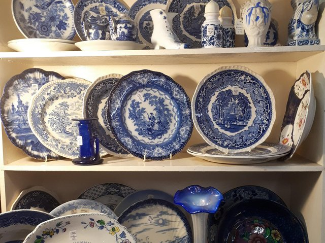 Blue and white pottery give a welcome, spring cheeriness to winter days