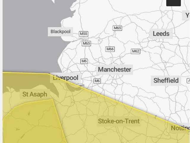 Yellow warnings are in place