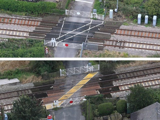 Shaws (above) and Crabtree level crossings in Burscough which may be closed to vehicles