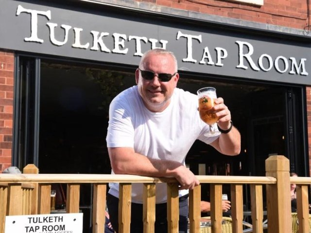 Ray Woods outside the Tulketh Tap Room in Ashton.