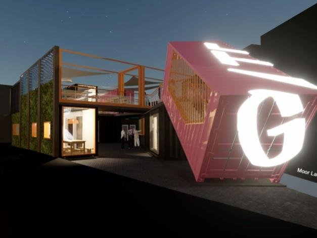 How the container-built eatery could look (Image: John Bridge Studio).